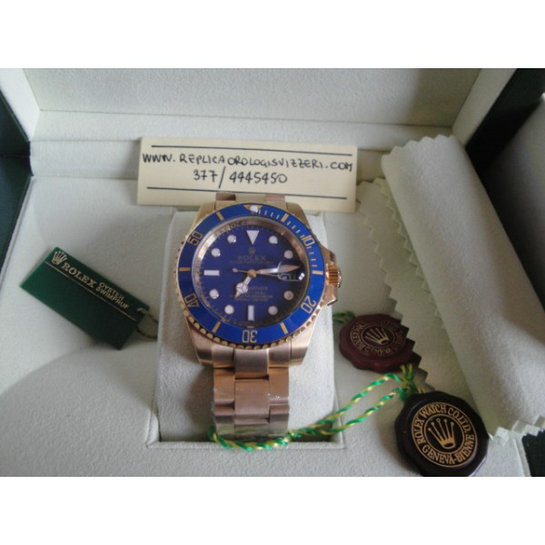 Rolex Submariner Gold Blue Edition Imitazione Replica