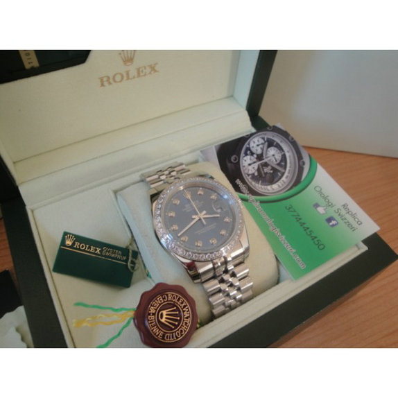 Rolex replica datejust special edition diamond blue brillantini