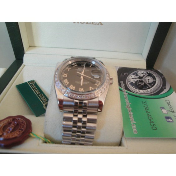 Rolex replica datejust special edition diamond black roman