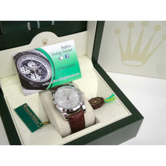 Rolex replica datejust argentèè pelle leather brown